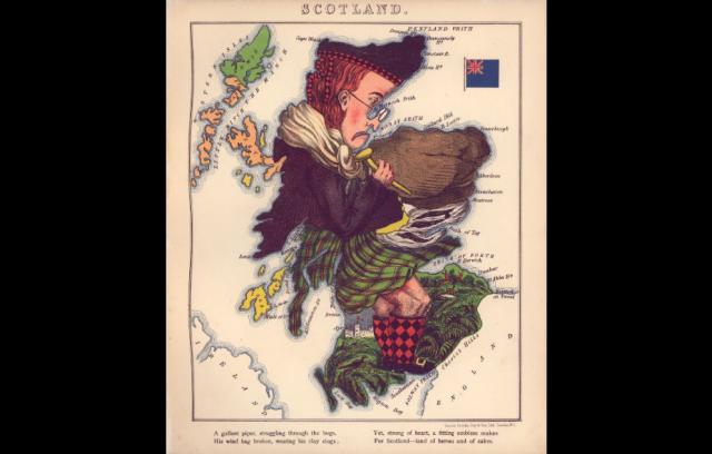 Mapa antropomórfico de Escocia, perteneciente al Atltas Geographical Fun (1868)