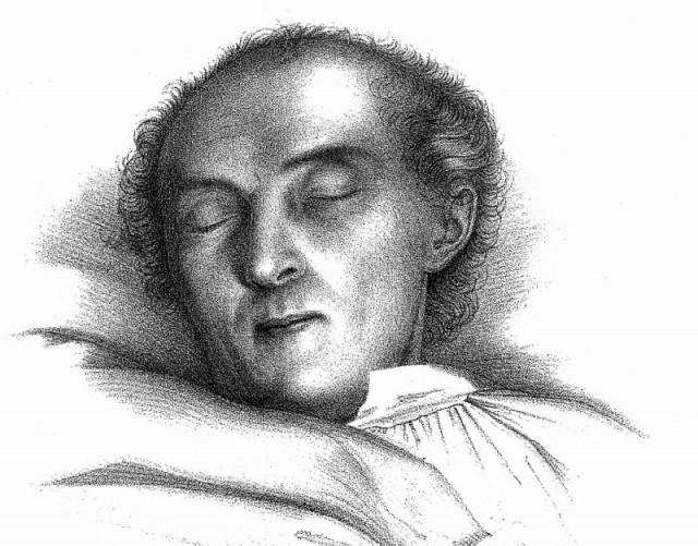 Grabado de Karl Christian Friedrich Krause en su lecho de muerte en 1832