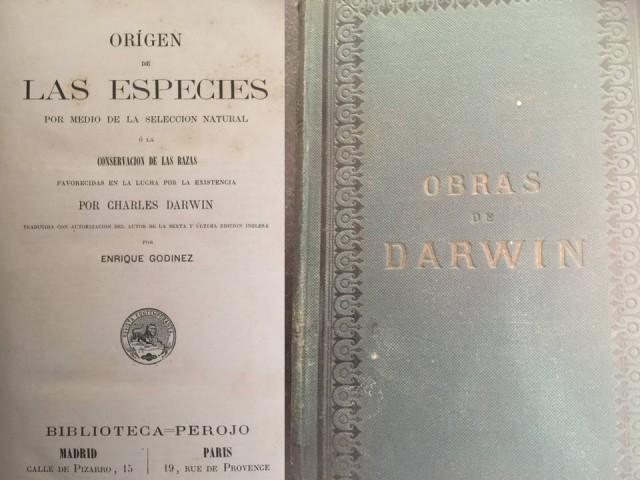 Primera edición del Origen de las especies. Ed. Perojo 1877. Imagen Javier Peláez