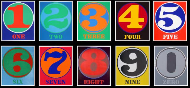 Obras de la serie Números, de Robert Indiana, óleo sobre lienzo en 1965 y serigrafías en 1968