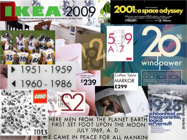 Algunos ejemplos del uso de los numerales de la fuente Futura