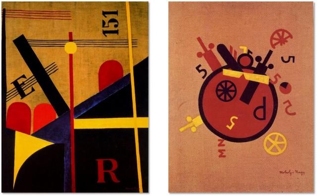 Gran pintura del ferrocarril (1920-21) y La gran rueda (1920-21), de László Moholy-Nagy