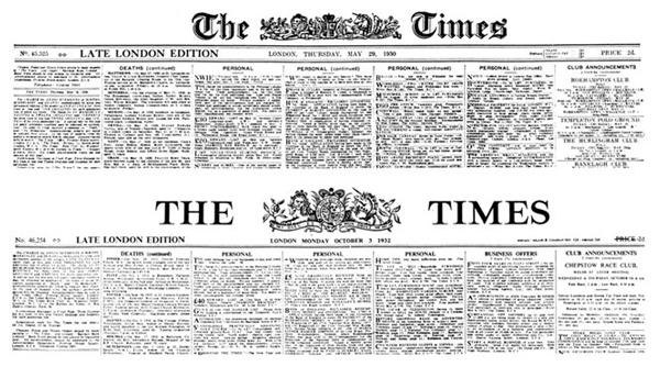 Primera plana del periódico TIMES del 3 de octubre de 1932 –abajo- y de una fecha anterior –arriba-