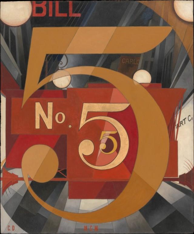 Vi el número 5 en oro, de Charles Demuth (1928)