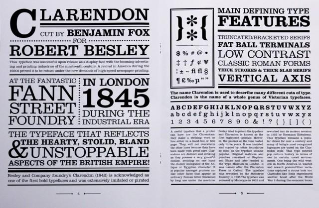Muestra del tipo Clarendon, que incluye letras, números y otros signos, con diferentes estilos
