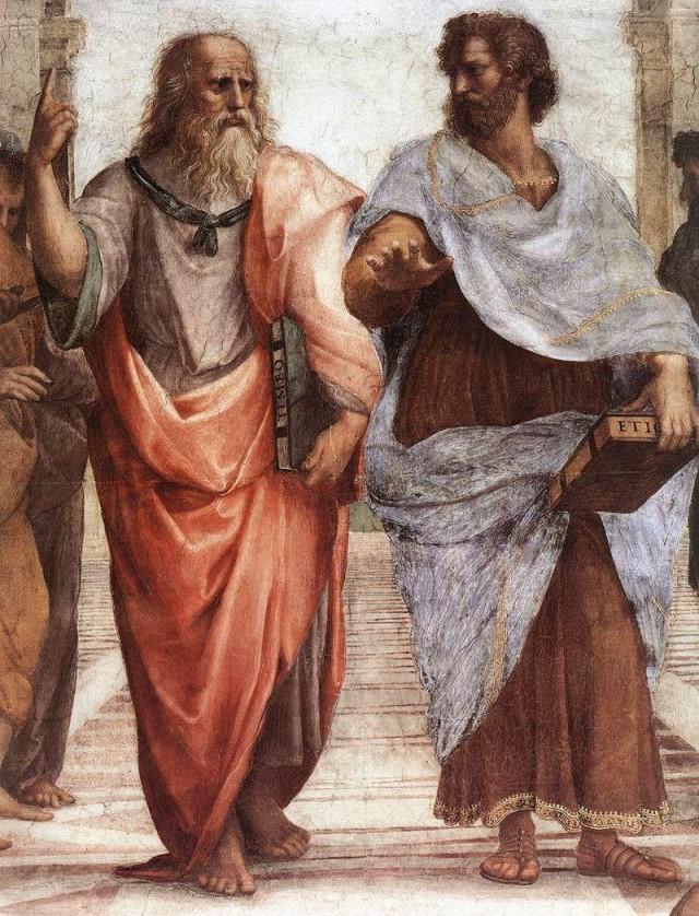 Platón y Aristóteles (detalle de La escuela de Atenas de Raffaello, 1509).