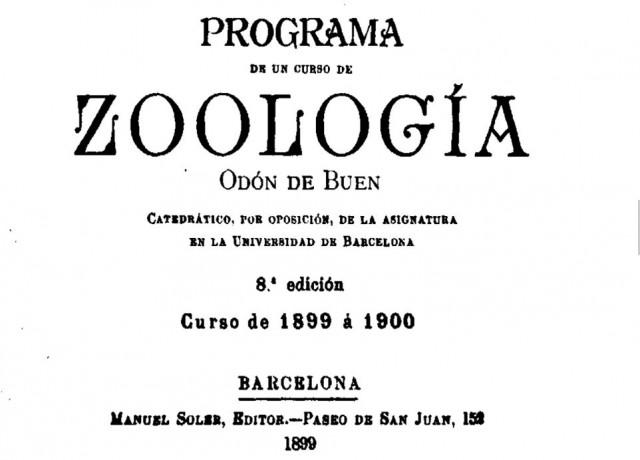 Planes de estudio para la asignatura de Zoología de Odón de Buen