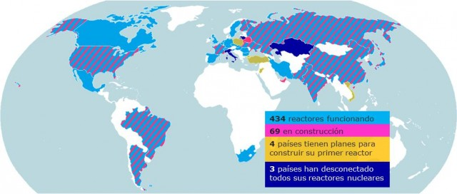 Mapa con la situación de la energía nuclear en el mundo. Elaboración propia