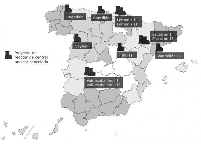 Ubicación de las centrales nucleares que se cancelaron en España. Elaboración propia.