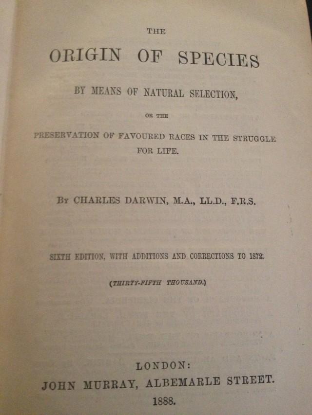 Ejemplar de una 6ª edición original del Origen de las especies - imagen Javier Peláez