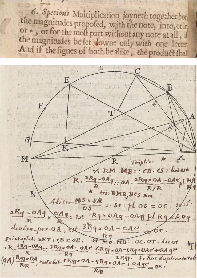 Dos trozos del libro Clavis Mathematicae (1631), en el que William Oughtred introduce el signo × para la multiplicación