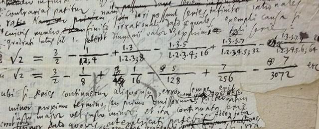 Página manuscrita de Leibniz que contiene desarrollos en serie de la raíz de dos