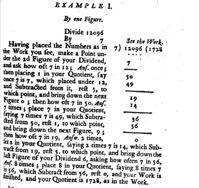 Explicación del algoritmo de la división en el libro Arithmetick both in the theory and the practice (1716) de John Hill, el dividendo es 12096, el divisor es 7 y el resultado, el cociente, es 1728
