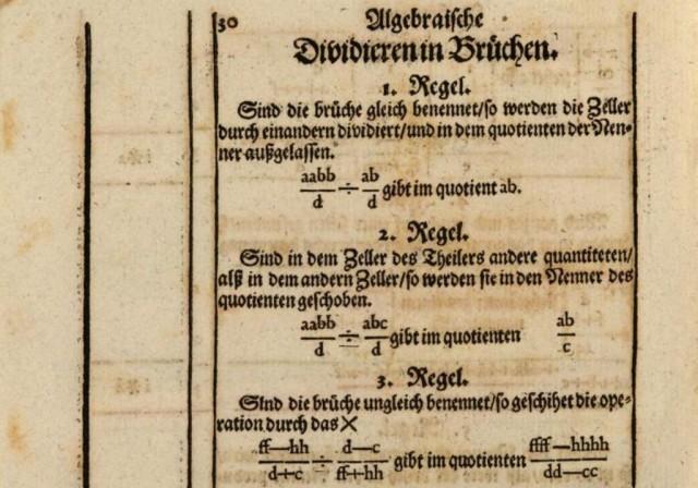 """Página del libro """"Teutsche Algebra"""" (1659), de John Rahn, en el que se introdujo el signo ÷ para la división"""