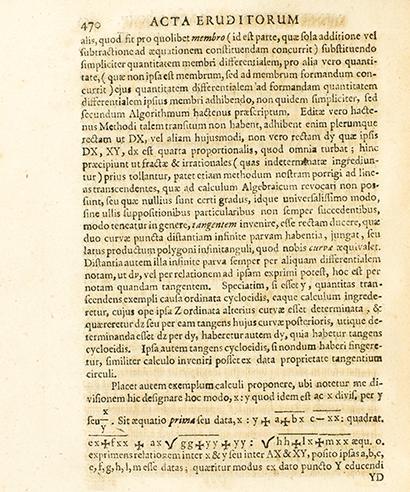 """Página del artículo """"Nova Methodus pro maximis et minimis…"""" (1684) en el que Leibniz introduce la notación : para la división"""