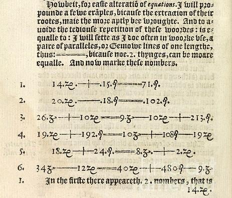 """Página del libro """"The Whetstone of Witte"""" (1557), de Robert Recorde, en el que aparece por primera vez el signo = para la igualdad"""