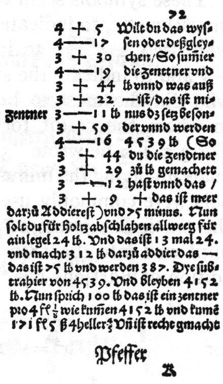 Primer uso de los signos + y – impresos en el libro Mercantile Arithmetic (1489), de Johannes Widman