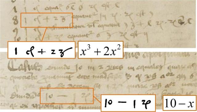 Signos más y menos, que aparecen en dos expresiones algebraicas, en dos hojas de los manuscritos latinos MS C80, páginas 350 y 352, de la Biblioteca de Dresde, del año 1486