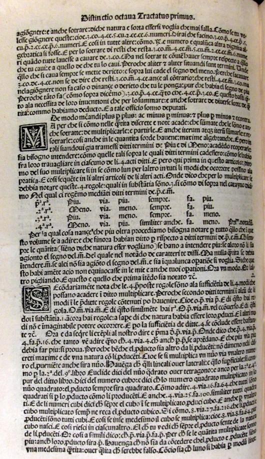 """Página de la obra Summa de arithmetica (1494), de Luca Pacioli, en la que aparecen por primera vez los signos <img src='//s0.wp.com/latex.php?latex=%5Cwidetilde%7Bp%7D%2C+%5Cwidetilde%7Bm%7D++&bg=T&fg=000000&s=0' alt='\widetilde{p}, \widetilde{m}  ' title='\widetilde{p}, \widetilde{m}  ' class='latex' />, para representar suma y resta. En esta página vemos también la regla del signo en la multiplicación """"más por más siempre es más, menos por menos siempre es más,…"""" (además, """"più"""" es más y """"meno"""" es menos en italiano)"""