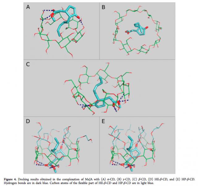 Docking molecular de la encapsulación entre ciclodextrinas y metil jasmonato