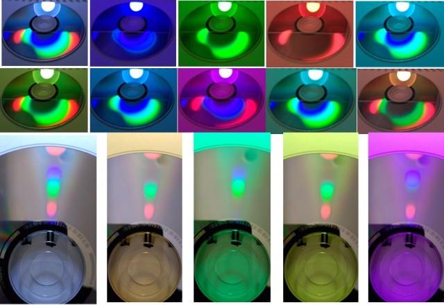Series de fotografías de un CD mostrando el espectro de la bombilla para distintos colores (que se aprecian por el tono general de cada foto). Las manchas de color difractado (el espectro) son imágenes esféricas en la serie de abajo, mientras que en la de arriba (realizada bajo otro ángulo) presentan una forma más irregular y vistosa.