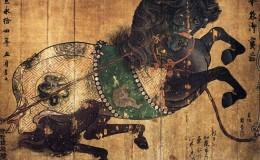 Tablilla de caballos, ema, del templo budista Kiyomizu-dera, realizada por el artista Kanō Sansetsu