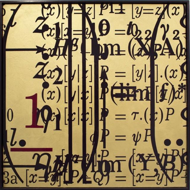 "Bernar Venet, ""Saturación"", acrílico sobre lienzo, 204 x 204 cm, 2010"