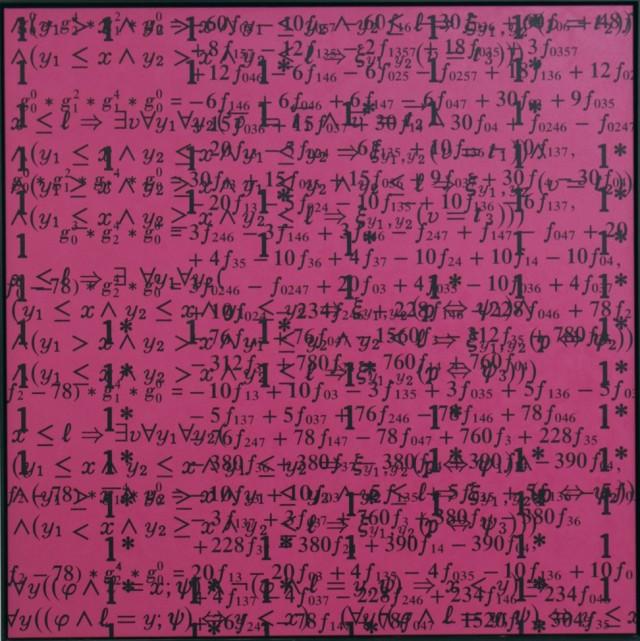 "Bernar Venet, ""Saturación 1"", acrílico sobre lienzo, 200 x 200 cm, 2002"