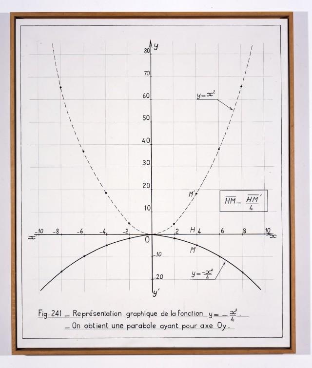 Bernar Venet, Representación gráfica de la función y = - x2/4, acrílico sobre lienzo, 146 x 121 cm, 1966