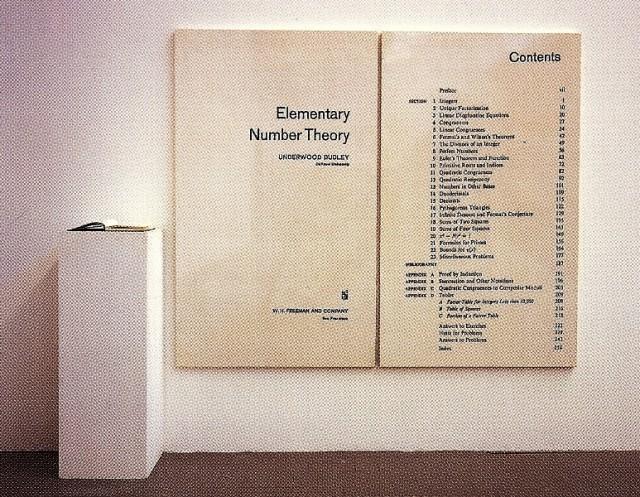 Bernar Venet, Teoría elemental de números, ampliación fotográfica y libro, 1970