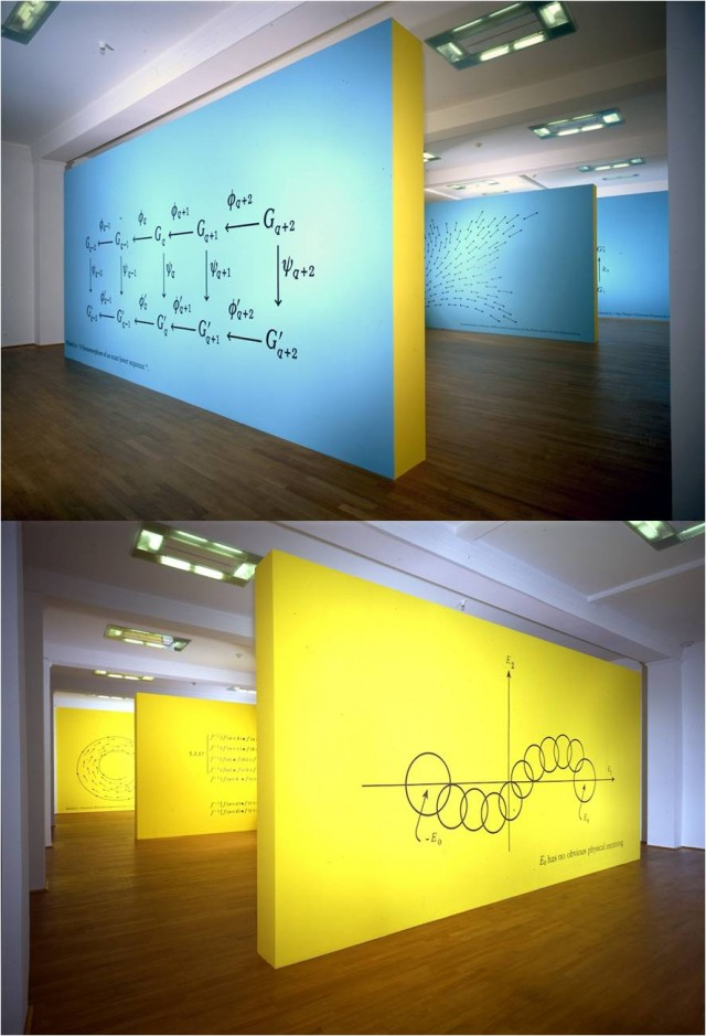 """Imagen de la instalación de pinturas murales """"Ecuación"""", de Bernar Venet, en el Ludwing Museum, Alemania, en 2002"""