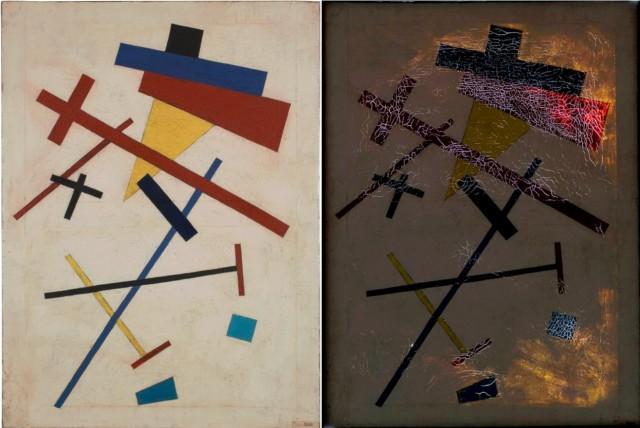 Imagen 1. Óleo sobre lienzo sin atribuir, estilo Kazimir Malevich (73 x 54 cm). A la izquierda una fotografía artística y a la derecha una con luz transmitida. Fuente: http://www.artofthezero.com/work/