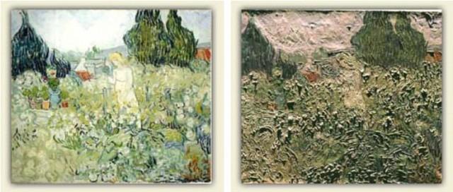 Imagen 2. Mademoiselle Gachet dans son jardin à Auvers-sur-Oise (46x55 cm) de Vincent Van Gogh (1890). A la izquierda fotografía con luz normal y a la derecha fotografía obtenida con luz rasante. Fuente: http://www.webexhibits.org/pigments/intro/visible.html