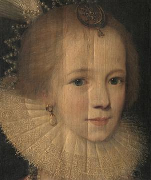 Imagen 3. A Young Girl (65x 51cm) de Paul van Somer (1615) Detalle de una fotografía de luz rasante. Fuente: http://studentguides.britishart.yale.edu/raking-light/young-girl