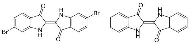 Imagen 5. Las estructuras químicas similares del púrpura de tiro (izquierda) y del índigo (derecha).