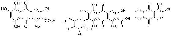 Imagen 6. Estructuras químicas de las moléculas que se encuentra en las diferentes lacas rojas. De izquierda a derecha: ácido kermésico, ácido carmínico y alizarina. Todas ellas tienen un esqueleto de antraquinona.