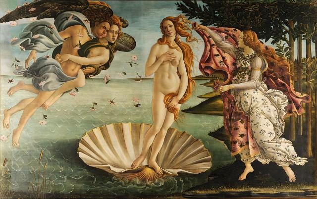 Imagen 2. El nacimiento de Venus (172×279 cm) de Sandro Botticelli (ca. 1486) es un temple sobre lienzo. Fuente: Wikimedia Commons