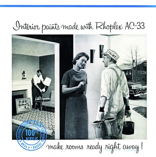 Imagen 6. Anuncio de post-guerra de las primeras pinturas acrílicas Rhoplex AC-33 para interiores de Rohm and Haas.