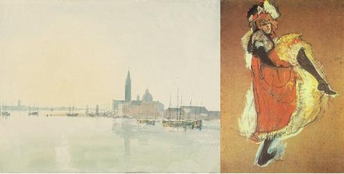 Venice: San Giorgio Maggiore - Early Morning 1819 Joseph Mallord William Imagen 3. A la izquierda San Giorgio Maggiore a la madrugada (22x29cm), acuarela de William Turner (1819). A la derecha Jane Avril bailando (99x71cm), gouache de Toulouse-Lautrec (1893).
