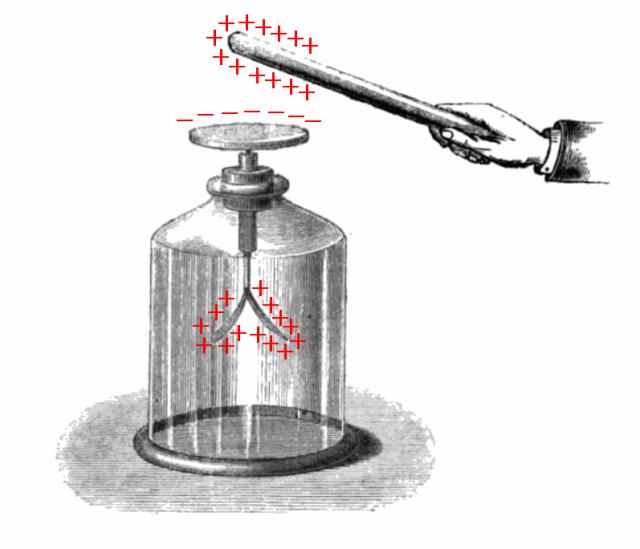 la inducción electrostática en un electroscopio de panes de oro.