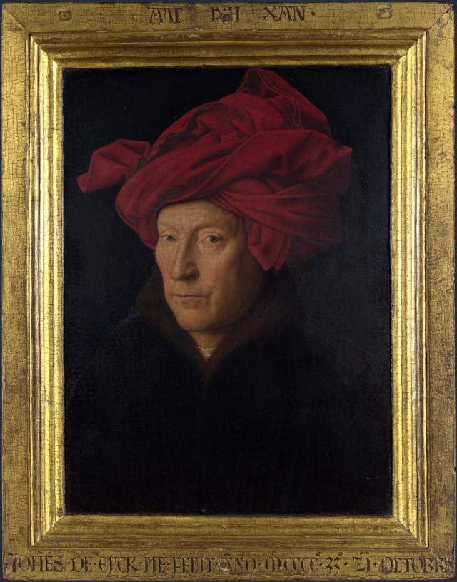 Imagen 4. El Retrato de un hombre (26×19 cm) de Jan van Eyck (ca. 1433) es un óleo sobre tabla que podría ser un autorretrato del pintor. Fuente: Wikimedia Commons