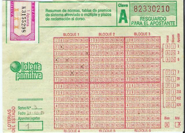 Resguardo del tercer sorteo de la Lotería Primitiva, celebrado el 31 de octubre de 1985 (wikipedia)