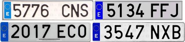Diferentes matrículas de coches de España, formadas por tres letras y cuatro números