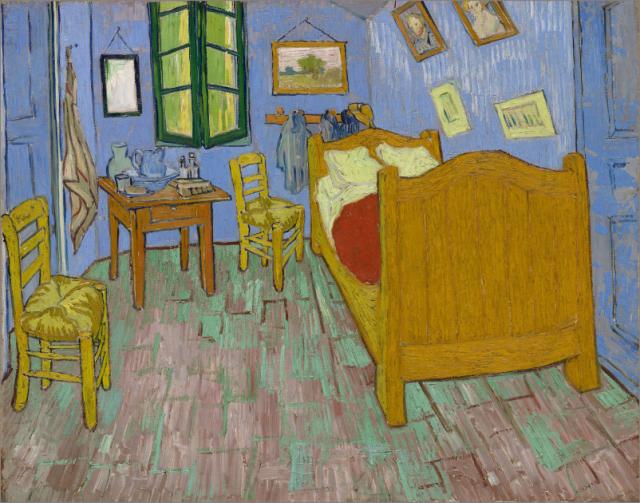 El dormitorio en Arles (74x92cm) de Vicent van Gogh (1889) en su estado actual.