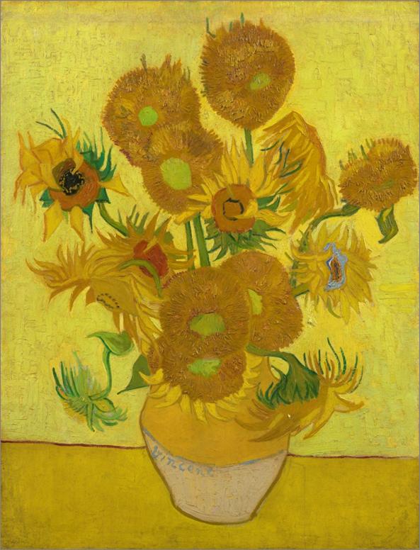 Imagen 3. Girasoles (95x73cm) de Vincent van Gogh (1889). Los girasoles no tenían tonos marrones originalmente.