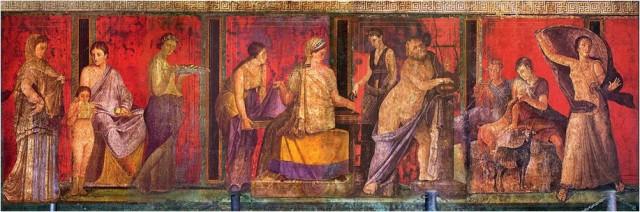 Imagen 1. Uno de los murales del segundo estilo (s I a.C.) en el triclinio de la Villa de los Misterios (Pompeya) que posiblemente represente la iniciación en los misterios dionisíacos. Fuente: Wikimedia Commons