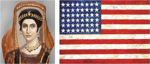 """Imagen 2. A la izquierda uno de los retratos de El Fayum (48x36x13cm) de """"El pintor Isidora"""" (100-125 d.C.). A la derecha Flag (107x154cm) de Jasper Johns (1954-55) collage en el que la cera permite ver los periódicos sobre los que se aplica. Casi dos milenios separan estas obras. Fuente: The Getty"""
