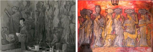 Imagen 7. A la izquierda José Cuní realizando una obra experimental con emulsiones de cera, agua y jabón potásico (1962, San Lorenzo del Escorial). A la derecha la misma obra en su estado actual de conservación.