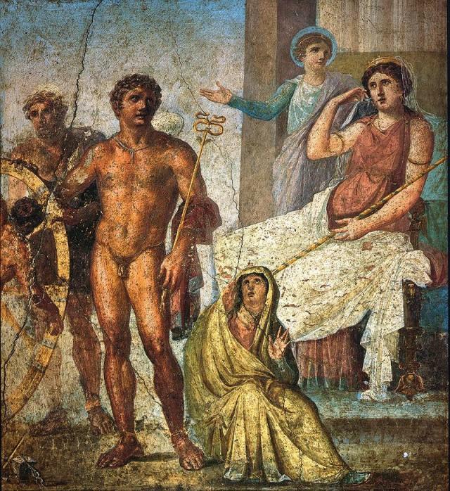 Imagen 8. El castigo de Ixión en la casa de los Vetti (Pompeya) una pintura mural del cuarto estilo (62-79 d.C.) pintada posiblemente usando alguna variante de la encáustica. Fuente: Wikimedia Commons