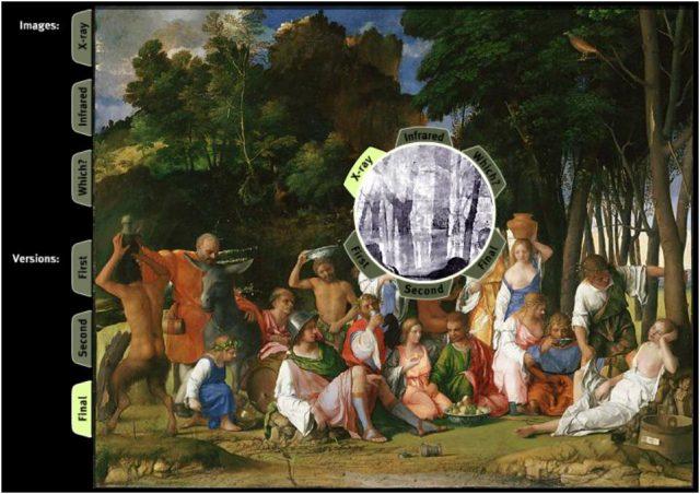 En el círculo en blanco y negro se muestra la radiografía correspondiente a esa área superpuesta a la fotografía del cuadro. La presencia de un dibujo diferente evidencia un cambio en la composición.